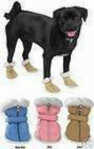 Casual Canine Sherpa Faux Suede Dog Boots, Dog Shoes in Different Colors.