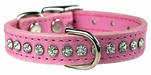 Crystal and Dobule Stitched High Grade Leather Dog Collar