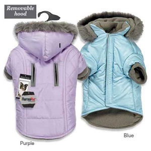 Dog Parka Quilted Themal Thermapet Warm Coat with Removable Hood.