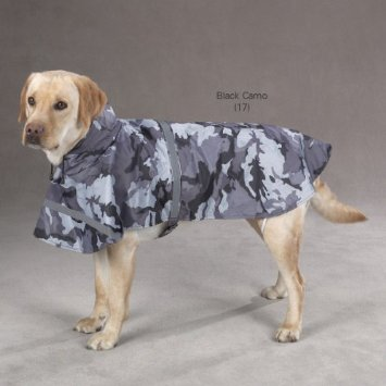 Pet Rain Coat - Camouflage Dog Rain Coat All Weather Jacket Guardian Gear Green and Black.