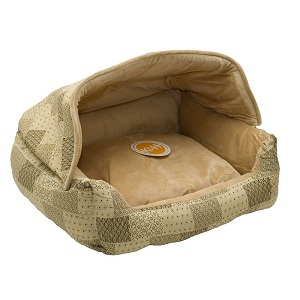 Lounge Sleeper Hooded Pet Bed with Hood and washable pillow cover.