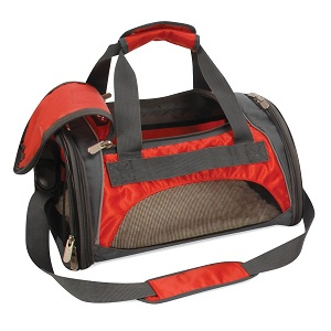 Duffle Small Dog Carrier- Airline / Subway / Rail Approved, top door, side pockets.